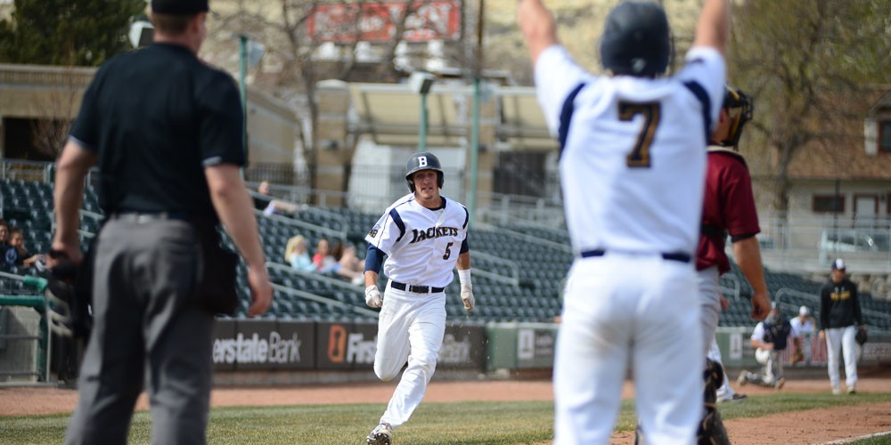 Brody Miller (7) gives Luke Reinschmidt the stand-up sign behind home plate after his inside-the-park home run against Central Washington. & More first-team all-region honors for Miller Reinschmidt - MSU ...